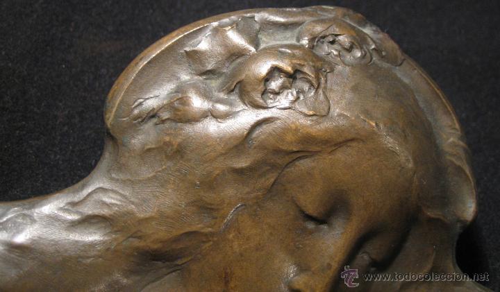 Arte: Placa en bronce Becker Art Nouveau finales s. XIX - Foto 4 - 43993400