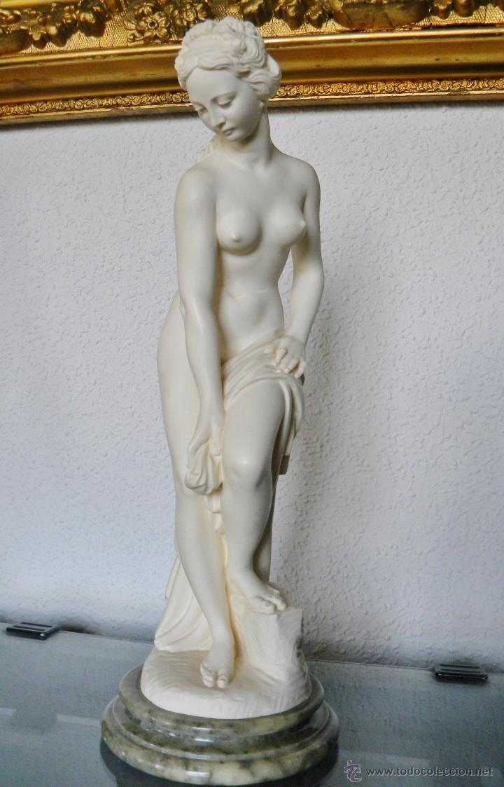 Arte: ARNALDO GIANNELLI ITALIA SIG XX ESCULTURA ALABASTRO DAMA DESNUDA ART NOUVEAU FIRMADA 38 CMS ca.1960 - Foto 5 - 45204045