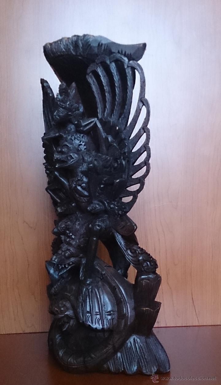 Arte: Antigua y bella talla de demonio de Indonesia en madera maciza . - Foto 9 - 45786868