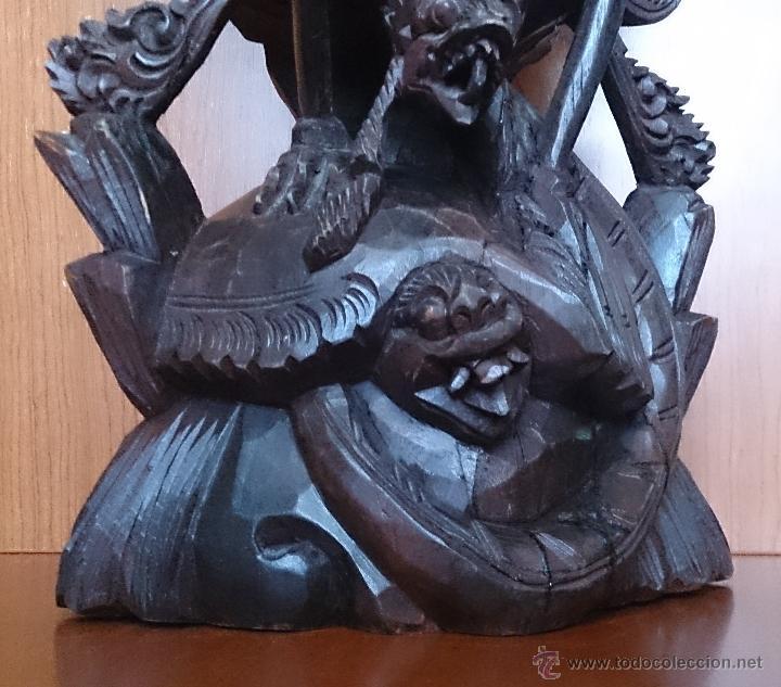Arte: Antigua y bella talla de demonio de Indonesia en madera maciza . - Foto 31 - 45786868