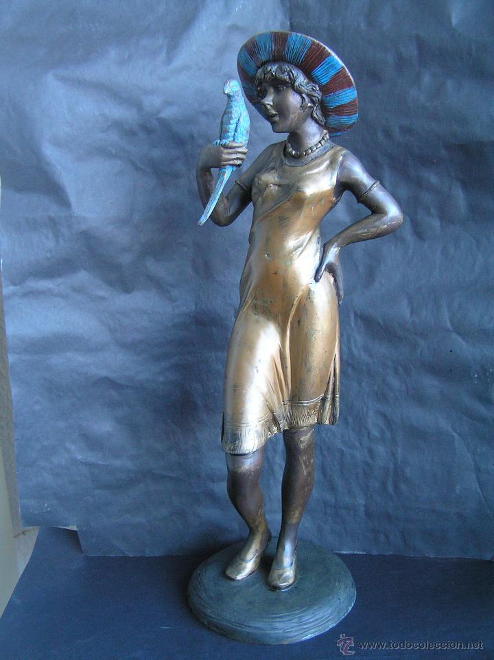 Arte: GRAN FIGURA DE BRONCE POLICROMADO. AÑOS 20. 52 cm. 4,83 Kg. PRECIOSA. - Foto 3 - 46323251