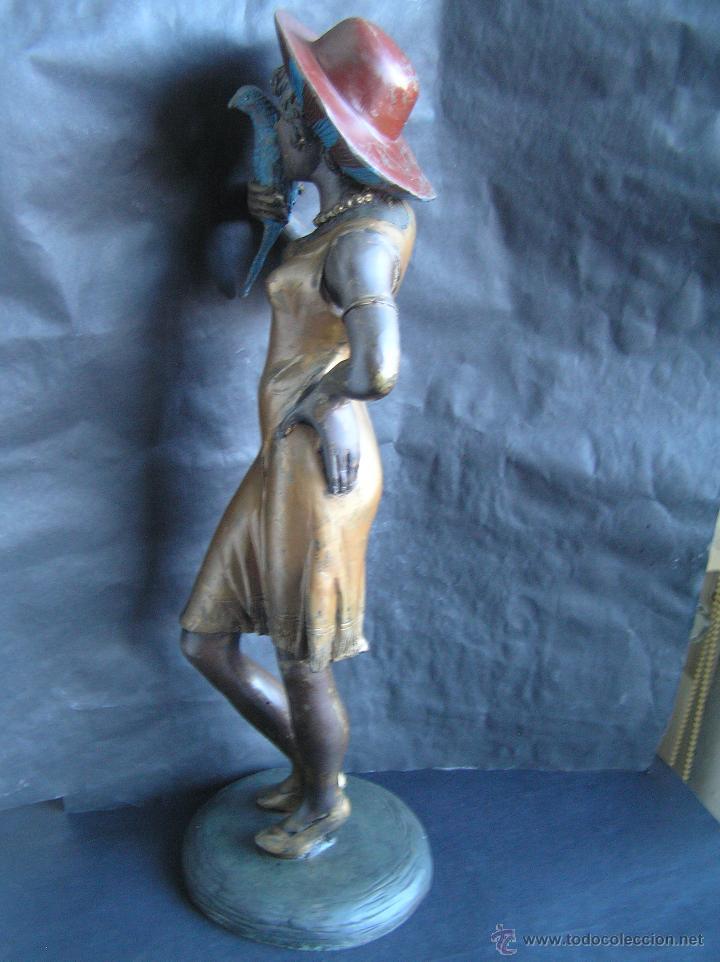 Arte: GRAN FIGURA DE BRONCE POLICROMADO. AÑOS 20. 52 cm. 4,83 Kg. PRECIOSA. - Foto 6 - 46323251