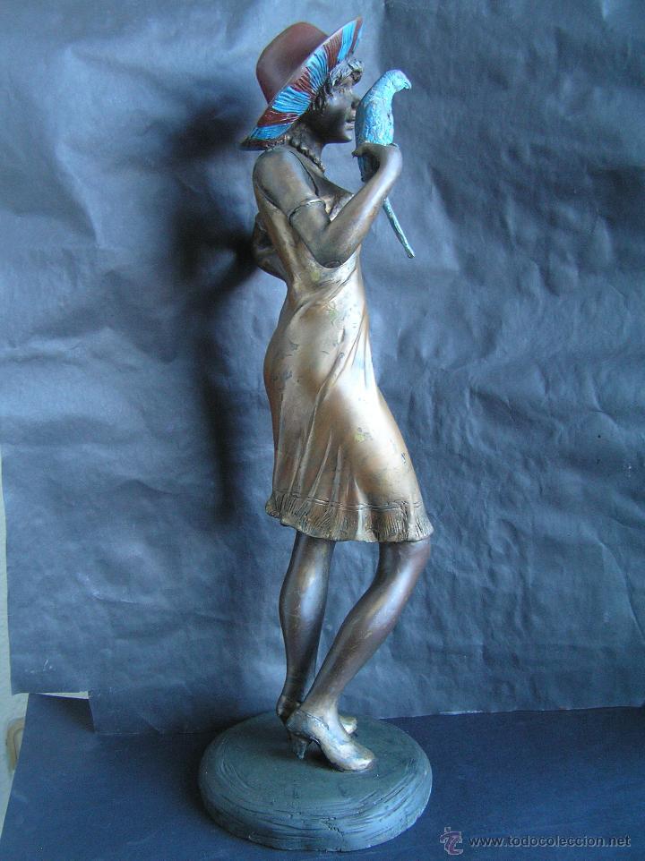 Arte: GRAN FIGURA DE BRONCE POLICROMADO. AÑOS 20. 52 cm. 4,83 Kg. PRECIOSA. - Foto 8 - 46323251