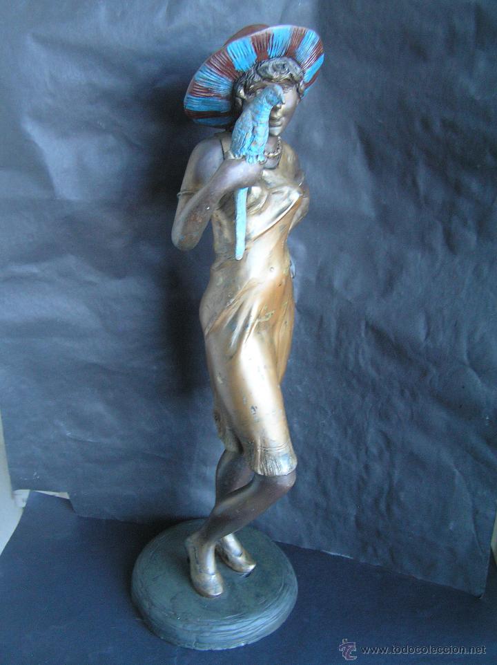 Arte: GRAN FIGURA DE BRONCE POLICROMADO. AÑOS 20. 52 cm. 4,83 Kg. PRECIOSA. - Foto 9 - 46323251