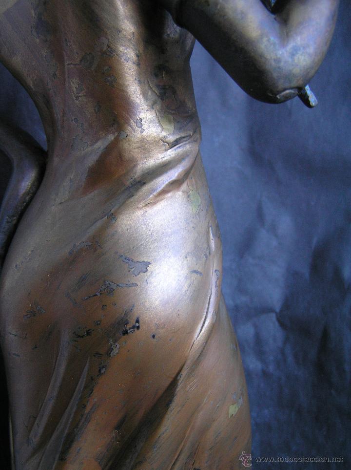 Arte: GRAN FIGURA DE BRONCE POLICROMADO. AÑOS 20. 52 cm. 4,83 Kg. PRECIOSA. - Foto 21 - 46323251