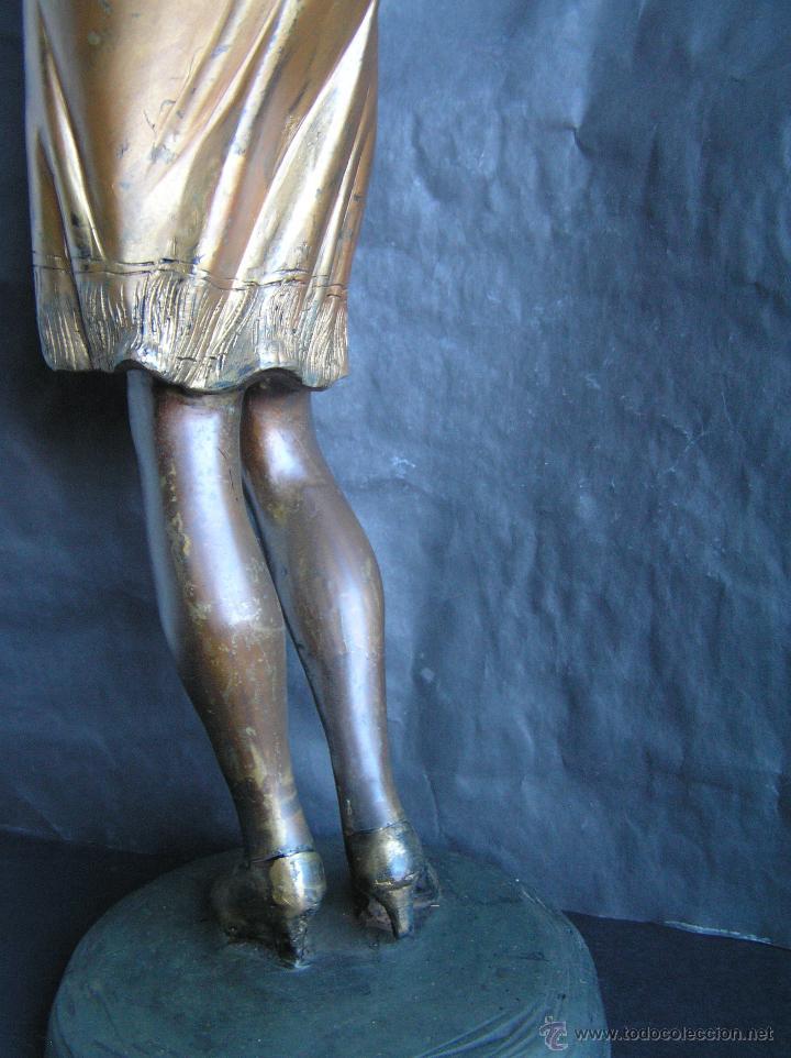 Arte: GRAN FIGURA DE BRONCE POLICROMADO. AÑOS 20. 52 cm. 4,83 Kg. PRECIOSA. - Foto 25 - 46323251