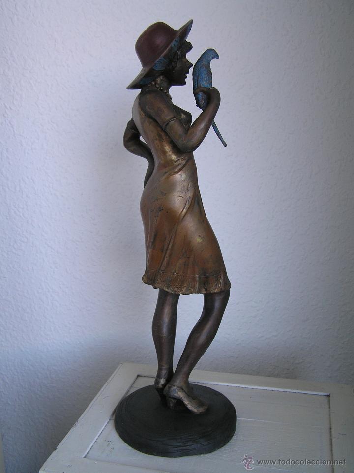 Arte: GRAN FIGURA DE BRONCE POLICROMADO. AÑOS 20. 52 cm. 4,83 Kg. PRECIOSA. - Foto 37 - 46323251