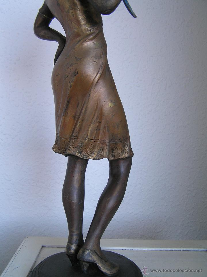 Arte: GRAN FIGURA DE BRONCE POLICROMADO. AÑOS 20. 52 cm. 4,83 Kg. PRECIOSA. - Foto 38 - 46323251
