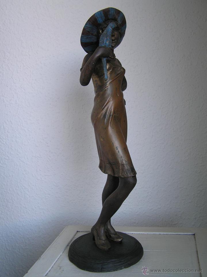 Arte: GRAN FIGURA DE BRONCE POLICROMADO. AÑOS 20. 52 cm. 4,83 Kg. PRECIOSA. - Foto 39 - 46323251