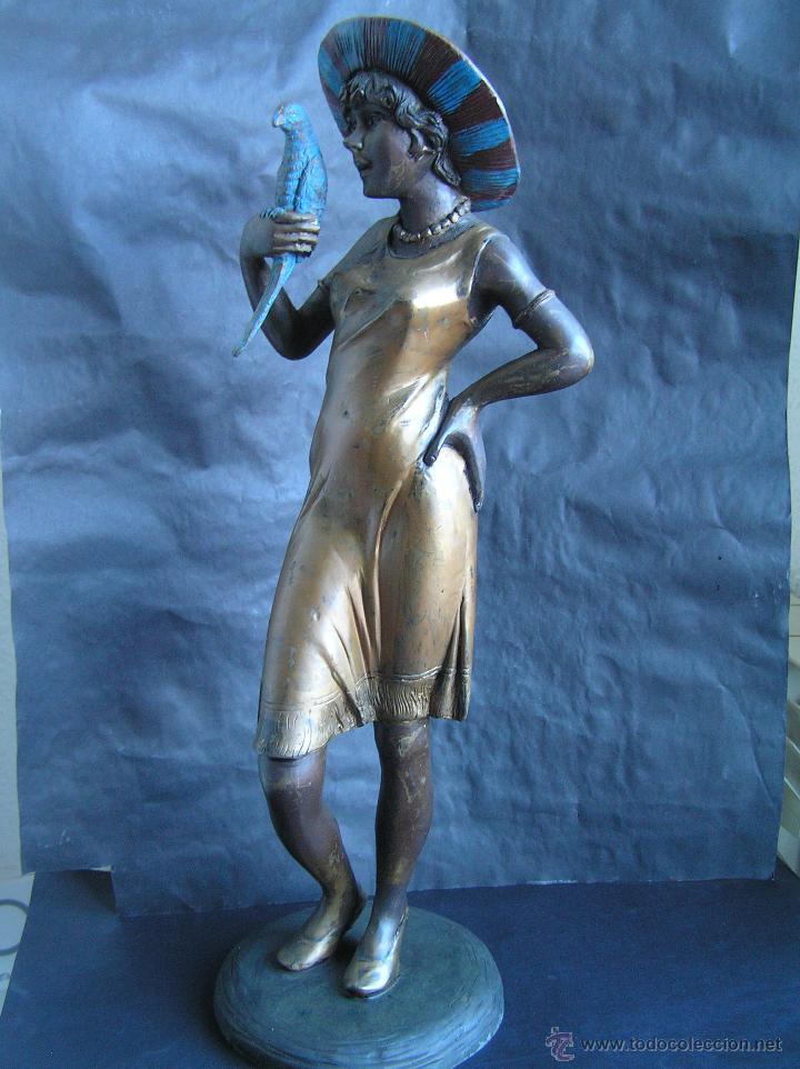 Arte: GRAN FIGURA DE BRONCE POLICROMADO. AÑOS 20. 52 cm. 4,83 Kg. PRECIOSA. - Foto 42 - 46323251