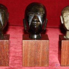 Arte: LOTE DE 3 CABEZAS MEJICANAS EN PIEDRA OBSIDIANA. 2º MITAD SIGLO XX. Lote 46762952