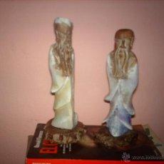 Arte: ANTIGUA PAREJA CHINA DE MONJES EN ALABASTRO. Lote 46930835