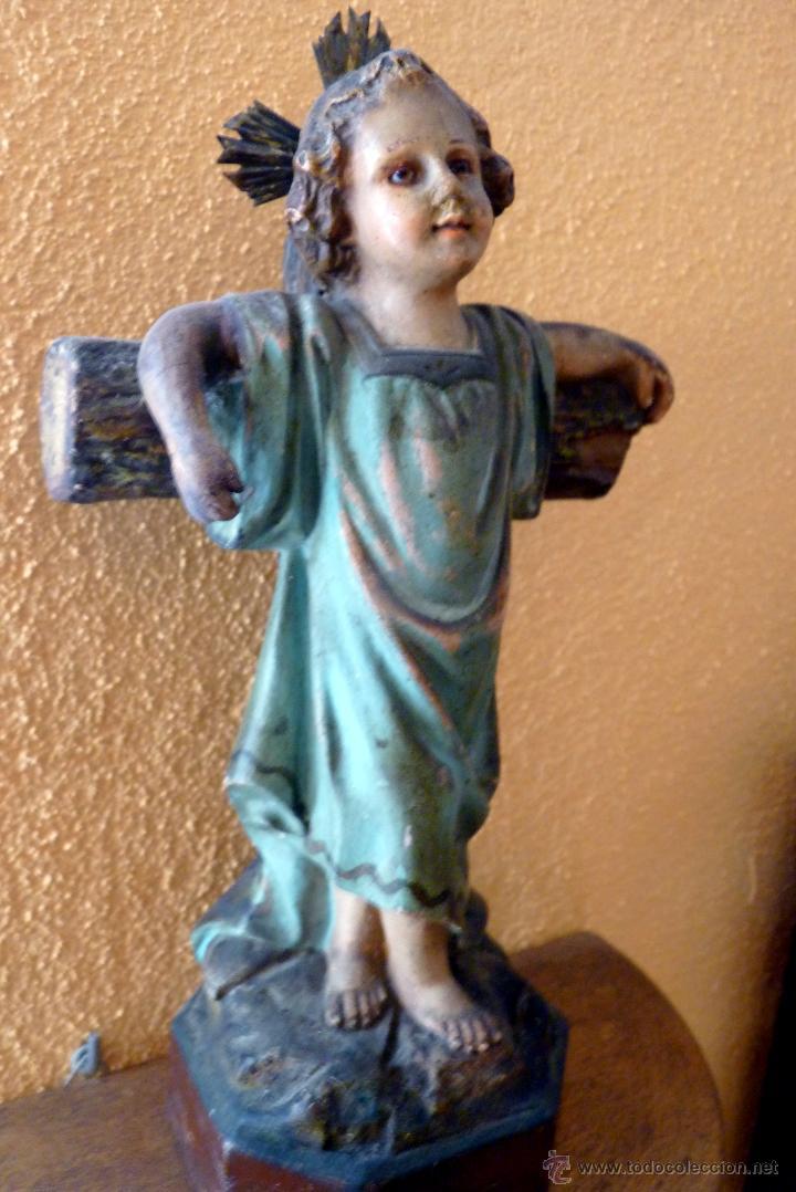 PRECIOSO NIÑO JESÚS JUNTO A LA CRUZ (Arte - Escultura - Madera)