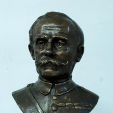 Arte: BUSTO FRANCÉS BRONCE MILITAR UNIFORME FIRMADO GEORGES FLAMAND (1895 - 1925) PEANA MÁRMOL. Lote 46988743