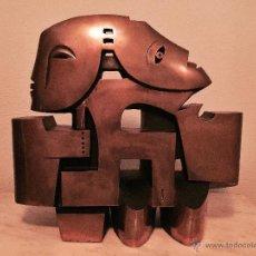 Arte: PIEZA UNICA,ESCULTURA DE BRONCE DEL PRESTIGIOSO ARTISTA AFRICANO LEANDRO MBOMIO. Lote 47185269