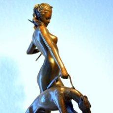 Art: HERMOSA ESCULTURA EN BRONCE DE LA DIOSA DE LA CAZA DIANA (32CM X 20CM & 3,3KG). Lote 54783386