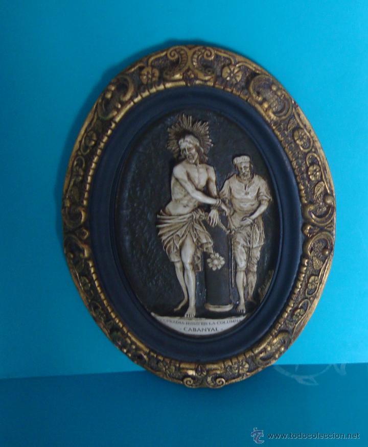 IMAGEN JESUS EN LA COLUMNA DE LA COFRADIA DE CABANYAL, MARCO Y OVALO REGISTRADOS (Arte - Escultura - Resina)