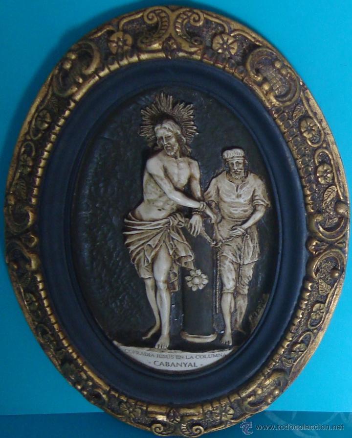 Arte: IMAGEN JESUS EN LA COLUMNA DE LA COFRADIA DE CABANYAL, MARCO Y OVALO REGISTRADOS - Foto 2 - 47475303