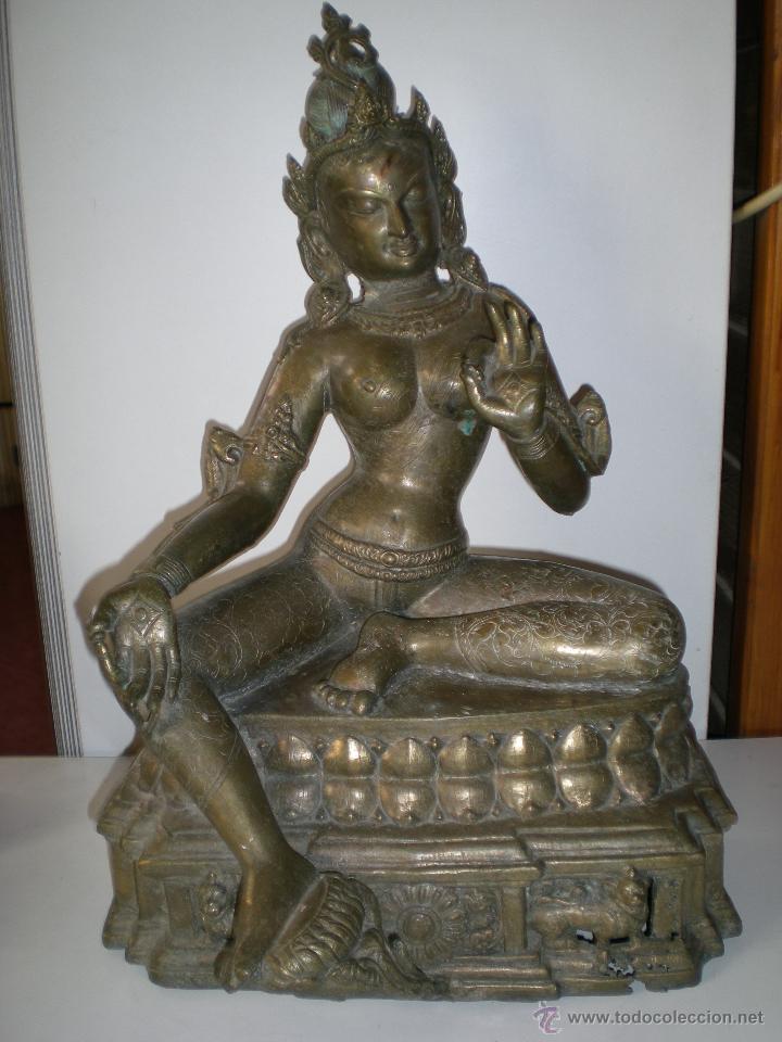 PRECIOSA DIOSA SHIVA LA INDIA EN BRONCE PRINCIPIOS DE SIGLO XX MUY BUEN ESTADO 44 CM (Arte - Escultura - Bronce)