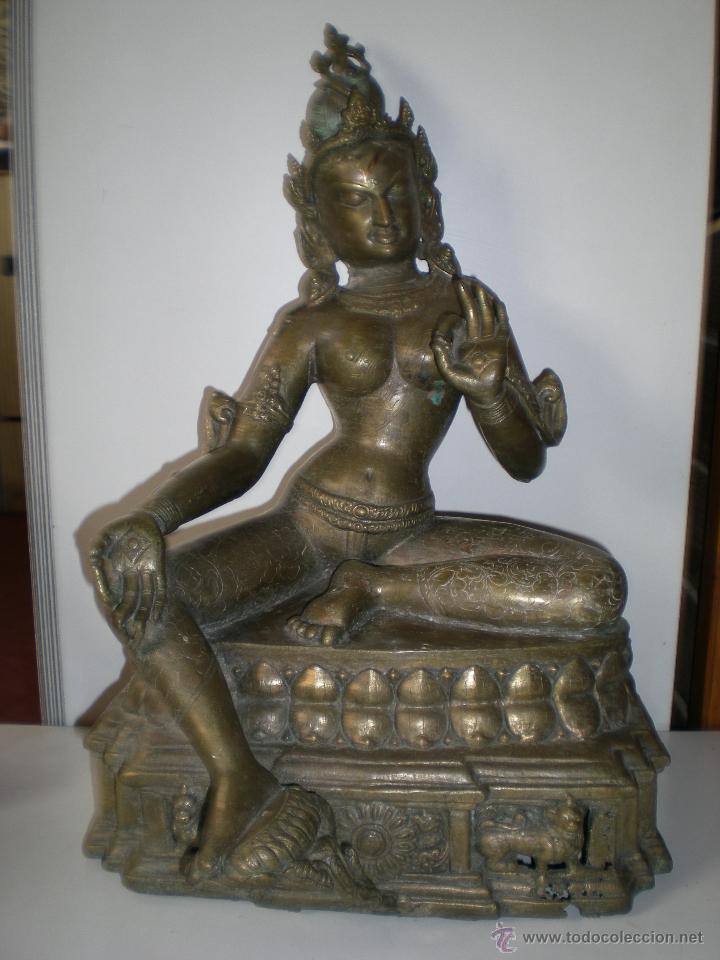 Arte: preciosa diosa SHIVA la india en bronce principios de siglo XX muy buen estado 44 cm - Foto 2 - 47697090