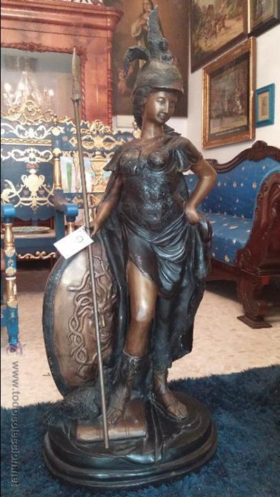 ANTIGUA MINERVA EN BRONCE DE GRAN TAMAÑO 1.23 CM. CONSULTE SU ENVIO (Arte - Escultura - Bronce)