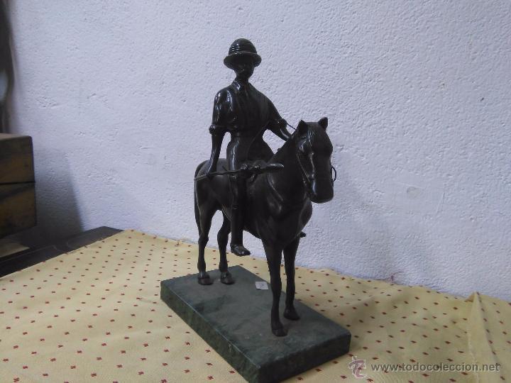Arte: Bonita escultura de bronce de jinete a caballo - Foto 3 - 48460746