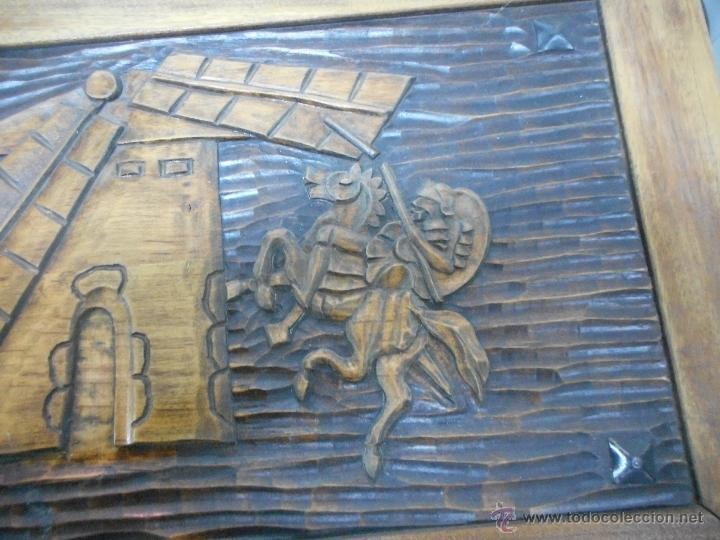 Arte: cuadro talla madera supongo escena quijote - Foto 2 - 48471073