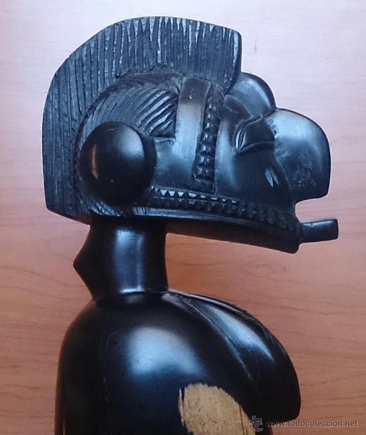 Arte: Antigua y original talla africana en madera de ébano macizo, tallado a mano . - Foto 12 - 48584351