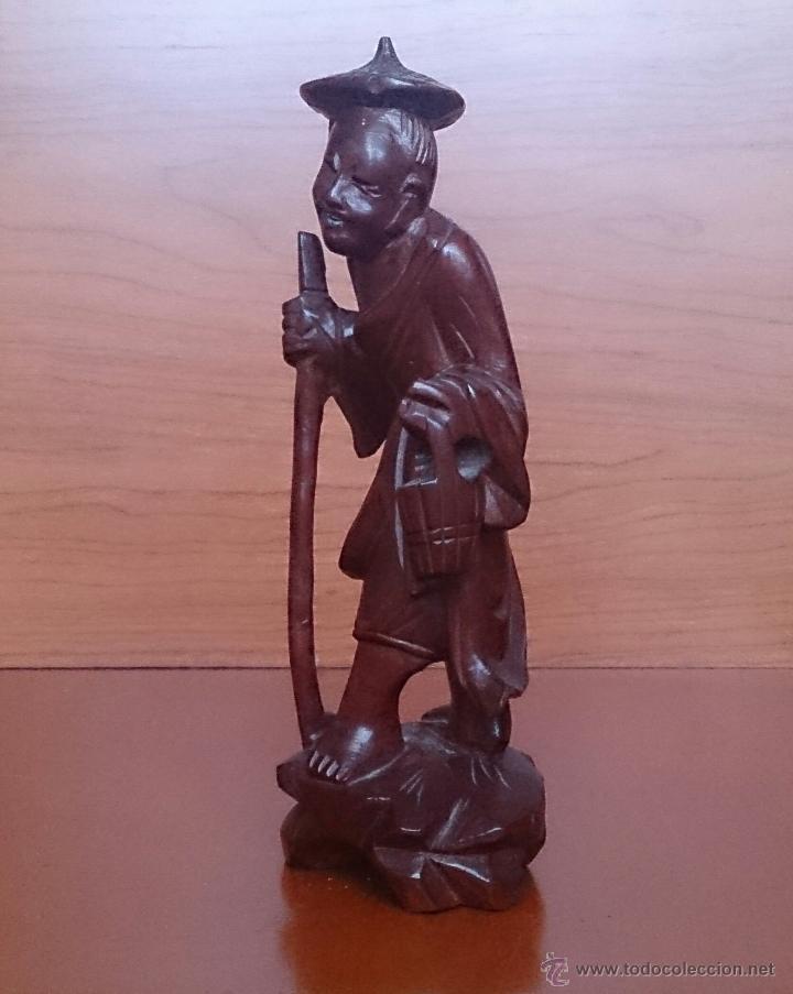 Arte: Antigua imagen de campesino Japonés en madera de caoba maciza tallada a mano y dientes en hueso . - Foto 2 - 56702793
