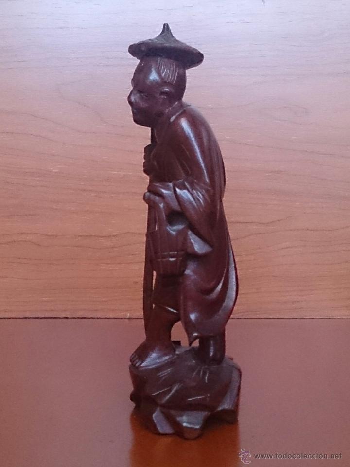Arte: Antigua imagen de campesino Japonés en madera de caoba maciza tallada a mano y dientes en hueso . - Foto 3 - 56702793
