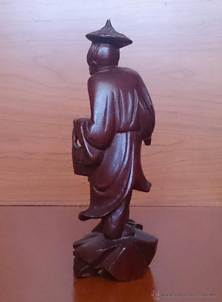 Arte: Antigua imagen de campesino Japonés en madera de caoba maciza tallada a mano y dientes en hueso . - Foto 4 - 56702793