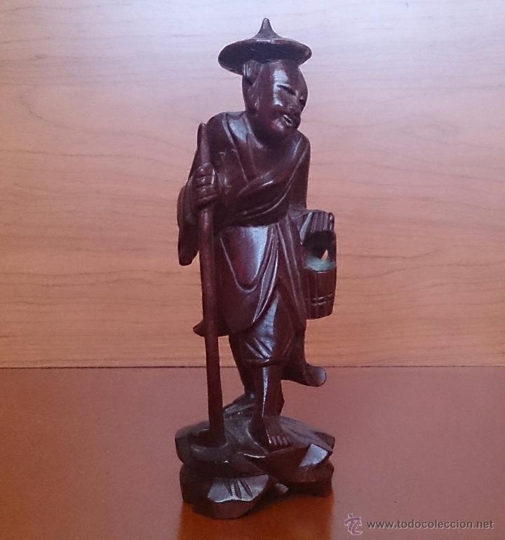 Arte: Antigua imagen de campesino Japonés en madera de caoba maciza tallada a mano y dientes en hueso . - Foto 8 - 56702793