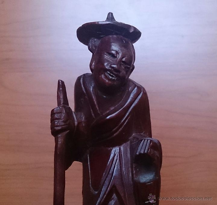 Arte: Antigua imagen de campesino Japonés en madera de caoba maciza tallada a mano y dientes en hueso . - Foto 10 - 56702793