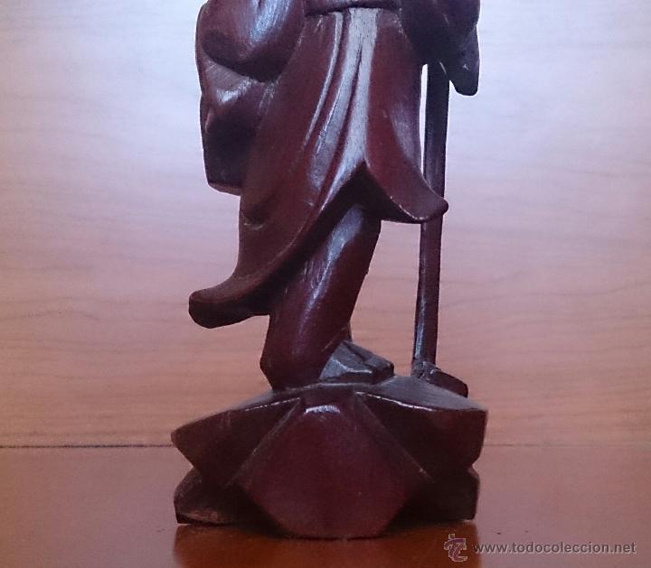 Arte: Antigua imagen de campesino Japonés en madera de caoba maciza tallada a mano y dientes en hueso . - Foto 13 - 56702793