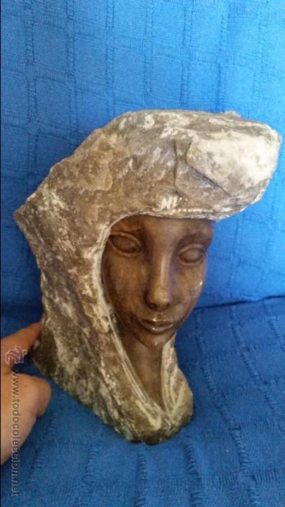 ANTIGUA GRAN ESCULTURA ALABASTRO PIEDRA MARMOL ROSTRO DE MUJER PULIDO FIRMA IBAÑEZ FIRMADA 18*21*26 (Arte - Escultura - Alabastro)