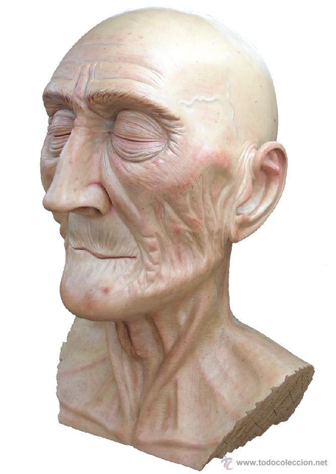 ESCULTURA FIGURATIVA TALLA MADERA RETRATO HOMBRE ANCIANO (Arte - Escultura - Madera)
