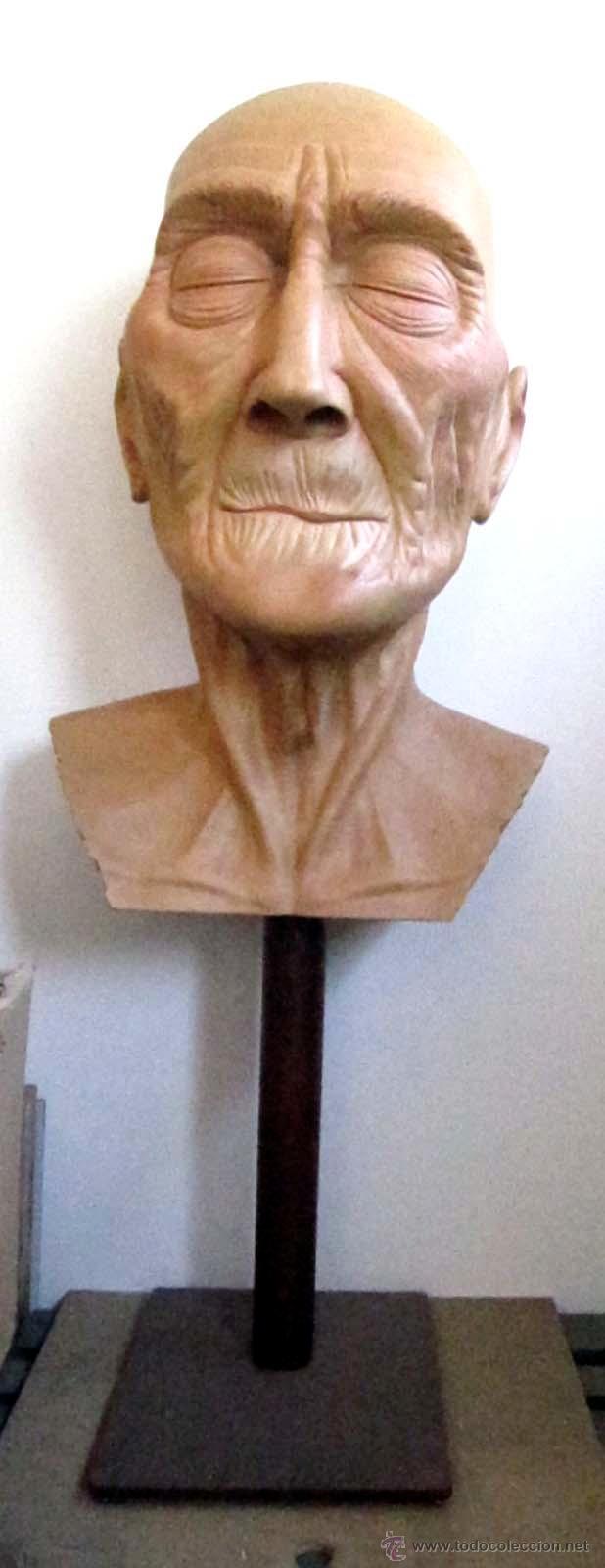 Arte: Escultura figurativa talla madera retrato hombre anciano - Foto 3 - 49460809