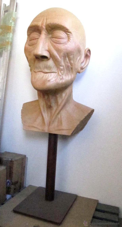 Arte: Escultura figurativa talla madera retrato hombre anciano - Foto 6 - 49460809