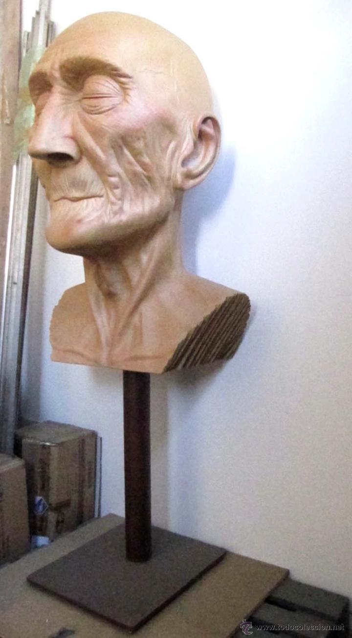 Arte: Escultura figurativa talla madera retrato hombre anciano - Foto 7 - 49460809