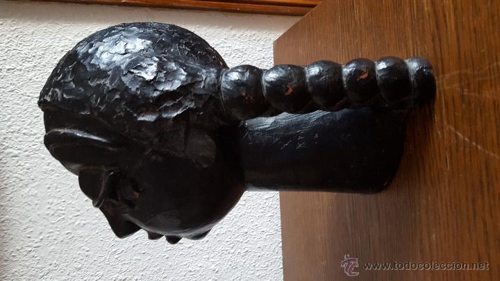Arte: Interesante y misteriosa escultura vintage (cabeza de mujer) sin firma - Foto 3 - 50534215