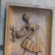 Arte: BAJO RELIEVE TALLA EN TABLA DE MADERA, SOBRE LA VENDIMIA. Lote 50538640