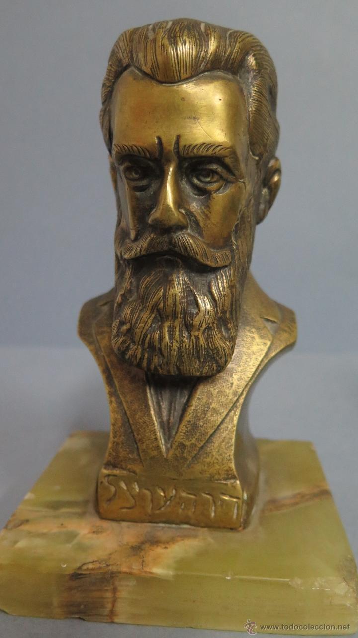 ANTIGUO Y GRAN BUSTO DE BRONCE EL FUNDADOR DEL SIONISMO THEODOR HERZL. PRINCIPIOS SIGLO XX (Arte - Escultura - Bronce)