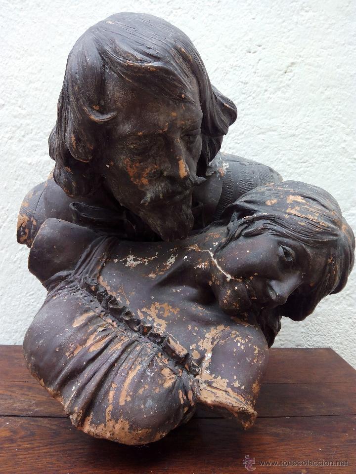 Arte: Busto de pareja en terracota . s.XIX-XX de Torcuato Tasso - Foto 3 - 49735279