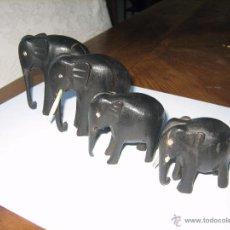 Arte: FAMILIA DE ELEFANTES DE EBANO. ELEPHANT FAMILY MADE FROM EBONY.. Lote 51049826