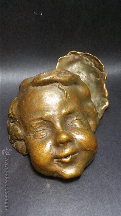 PRECIOSO Y ANTIGUO BRONCE ARTÍCULO NOUVEAU PP.SG.XX. CARA DE NIÑO 1900 - 1920 (Arte - Escultura - Bronce)