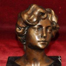 Arte: ATRIBUIDO A MIQUEL BLAY I FABREGAS (OLOT,1866 - MADRID,1936) ESCULTURA EN BRONCE. BUSTO DE UNA JOVEN. Lote 52131815