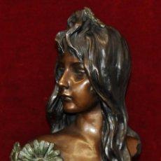 Arte: PIERRE CARRIER-BELLEUSE (1851-1932) ESCULTURA EN BRONCE PATINADO. LA MARGUERITE. Lote 52132311