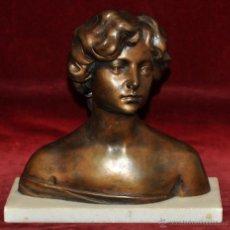 Arte: ATRIBUIDO A MIQUEL BLAY I FABREGAS (OLOT,1866 - MADRID,1936) ESCULTURA EN BRONCE. BUSTO DE UNA JOVEN. Lote 52132486