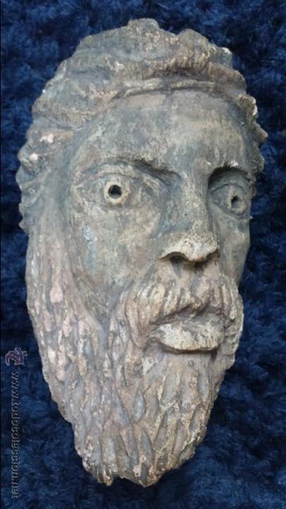 ANTIGUA CABEZA EN PIEDRA CALIZA POSIBLEMENTE PERTENECIENTE A RELIEVE (Arte - Escultura - Piedra)