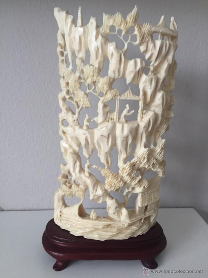 MAGNIFICA ANTIGUA ESCULTURA TALLA ASIÁTICA 8 X10 CM FILIGRANA ARTE SIGLO XIX P.V.P. 2530 EUR (Arte - Escultura - Hueso)